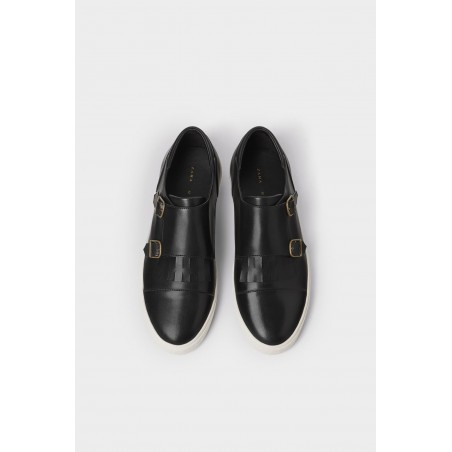 Black Double Monk Strap Sneakers