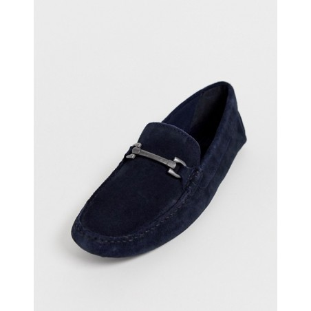 Navy Suede loafers with Snaffle