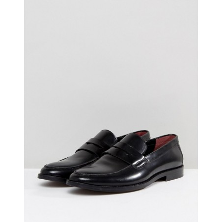 Leather Penny Loafers - Black
