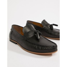 Black leather loafers with...