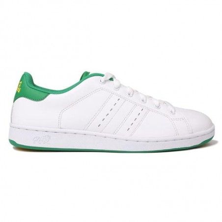 Mens Leather Trainers - white and green