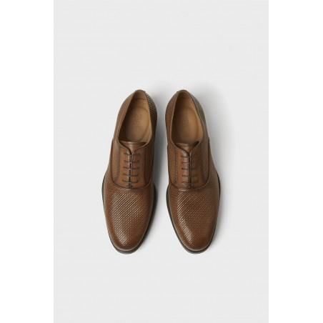 Embossed Leather Shoes - brown