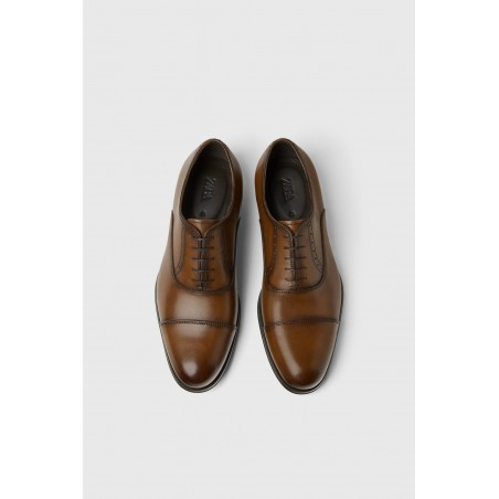 ZARA SMART LEATHER SHOES - BROWN