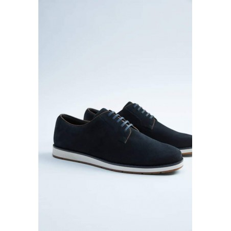 Suede Lace up Shoe - Navy