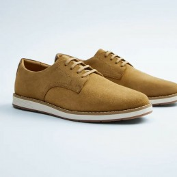 Lace up suede shoe - Tan