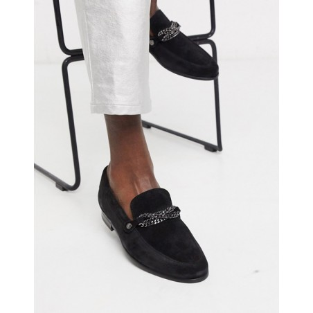 Twisted Tailor suede loafer with chain details