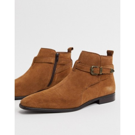 River Island chelsea boot with buckle - brown