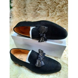 CL Black men shoe with bow tie
