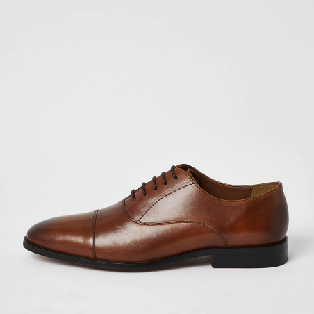 River Island Brown leather derby shoe