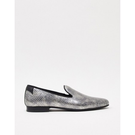 Twisted Tailor faux snake skin loafer