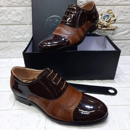 Brown Patent leather shoe