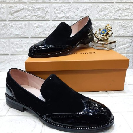 Suede & patent leather loafers