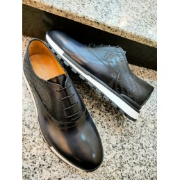 Leather sport shoe - navy